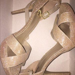 Gold bling stiletto strap heels
